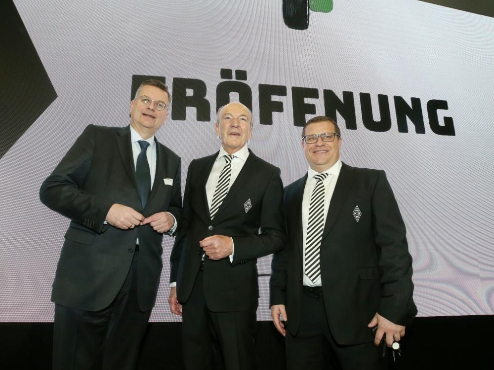 Eberl (r.) freut sich über den Neubau im Borussia-Park