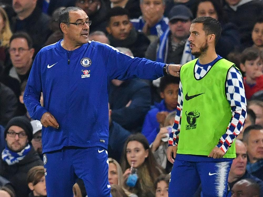 Maurizio Sarri (l.) mit seinem Superstar Eden Hazard