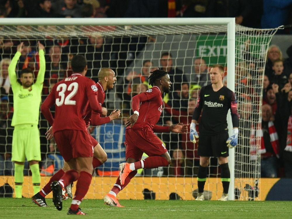 Liverpool feiert das 4:0 von Divock Origi