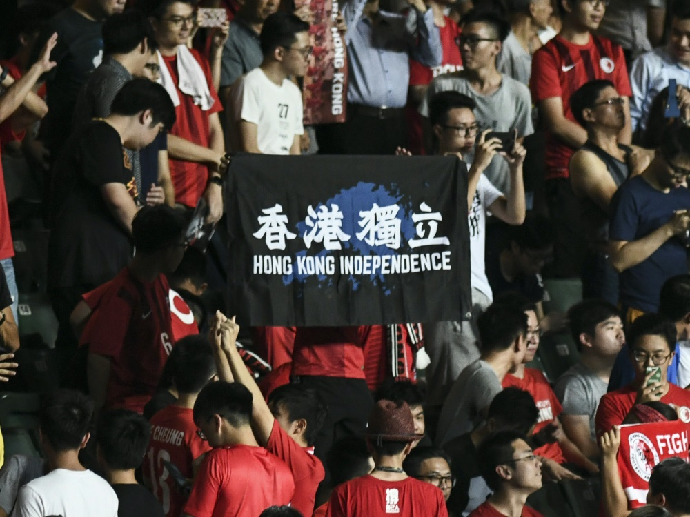 Hongkongs Fans protestierten beim Spiel gegen Taiwan