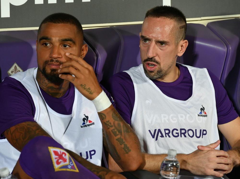 Kevin-Prince Boateng (li.) mit Franck Ribery.