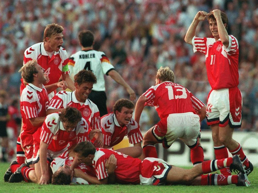 Dänemark bejubelt den Schlusspfiff beim EM-Finale 1992