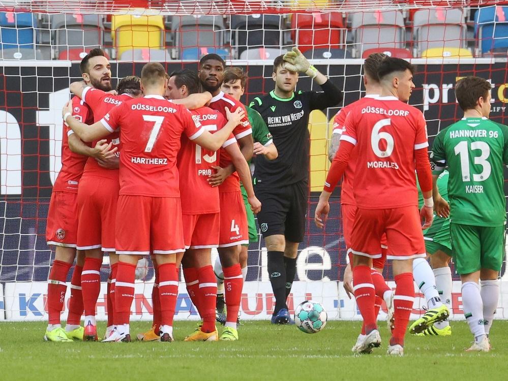 Die Fortuna setzt sich mit 3:2 gegen Hannover 96 durch