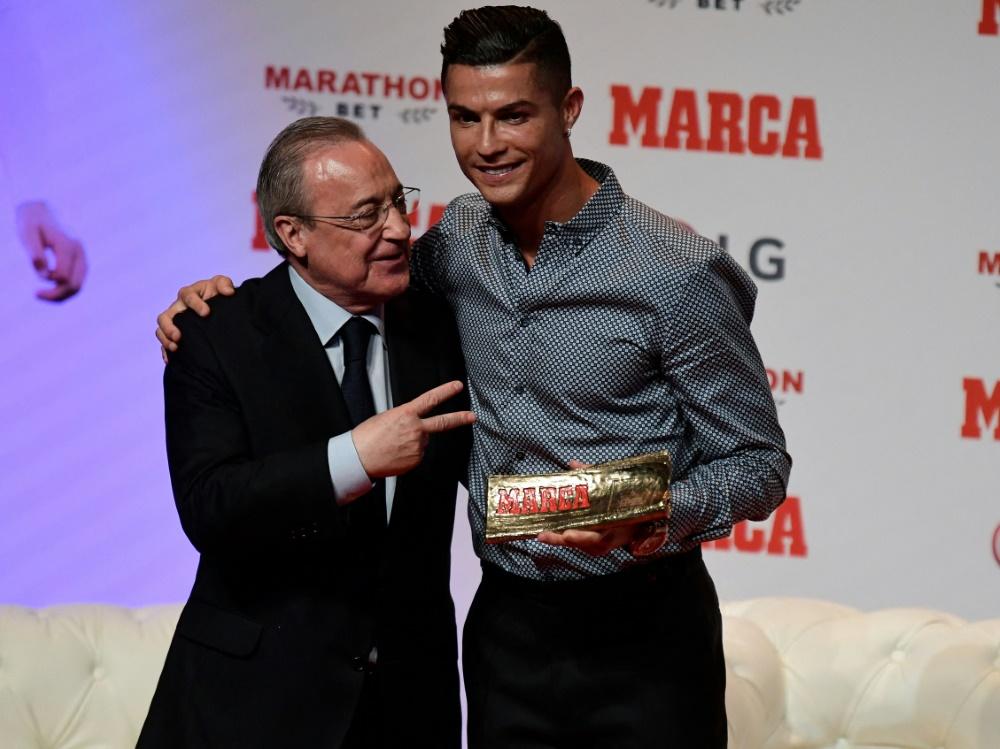 Florentino Perez tritt gegen Superstar Ronaldo nach (Foto: SID)